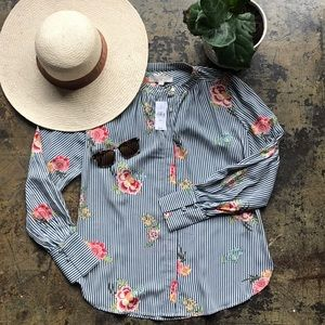 NWT Loft Floral Striped Button Sleeve Blouse